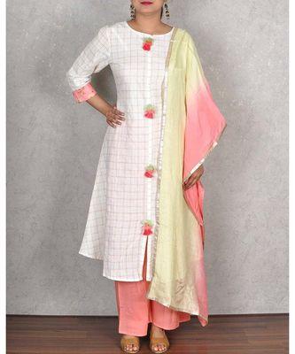 White & Peach Cotton Palazoo Suit