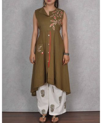 Mehendi Green & White Cotton 2Pcs Embroidered Dress