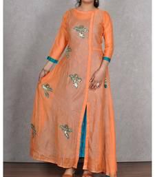 Orange & Firozi Embroidered Chanderi Silk 2pc Dress