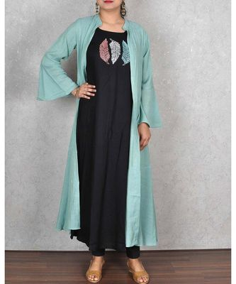 Sea Green Cotton Linen Jacket Style Dress
