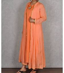 Peach Muslin 2pc Dress With Embroidered Back
