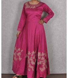 Wine Raw Silk Embroidered Gown