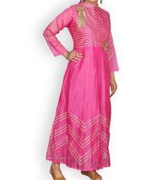 Pink Chanderi Gota Work Dress