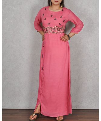 Pink Muslin Gown with Hand Embroidery