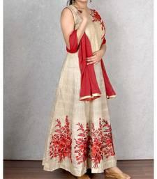 Beige & Red Embroidered Cotton Silk Dress