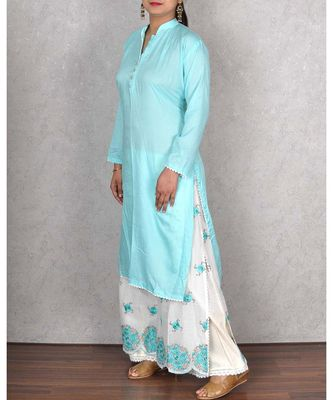 Firozi Muslin Embroidered Palazoo Suit