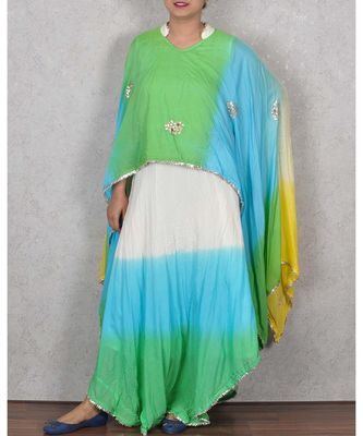 Multicolored Rayon Gota Work Dress
