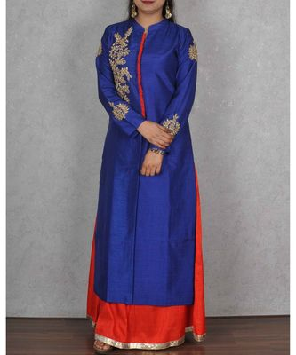 Blue & Red Raw Silk Floor Length Dress with Hand Embroidery