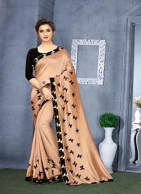 Golden printed art silk saree with blouse