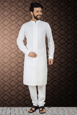 White Stylish Embroidery Kurta Set