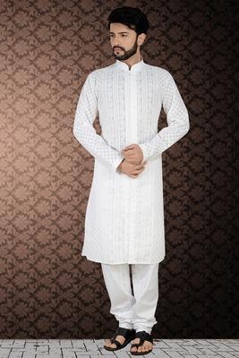 white stylish embroidery kurta set
