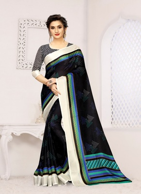 Black printed cotton saree with blouse