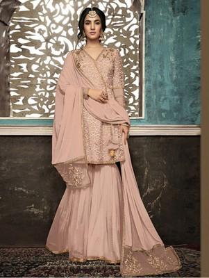 Light Peach Color Wedding Wear Designer Plazo Suit
