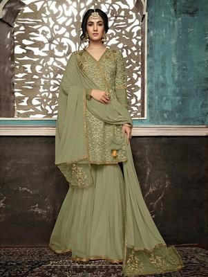Mehendi Color Wedding Wear Designer Plazo Suit