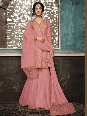 Pink Color Wedding Wear Designer Plazo Suit