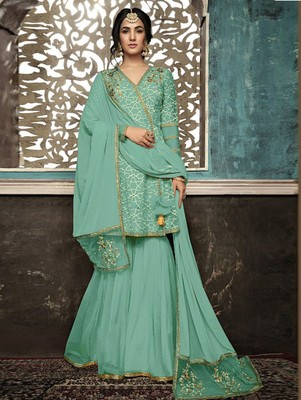 Soft Cyan Wedding Wear Designer Plazo Suit