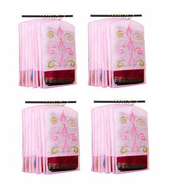 Atorakushon® Fabric Printed Hanging Saree Cover Wardrobe Organiser Pack of 24