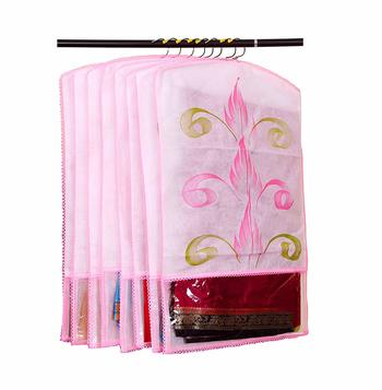 ATORAKUSHON® FABRIC PRINTED HANGING SAREE COVER WARDROBE ORGANISER  MULTI COLOR PACK OF 6