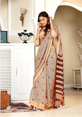 Beige woven jute saree with blouse