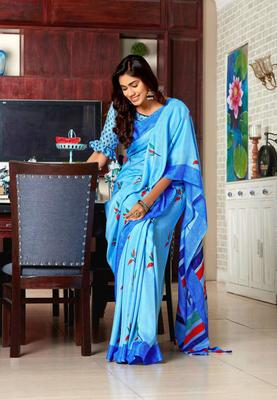 Blue woven jute saree with blouse