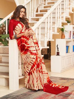 Peach woven cotton saree with blouse