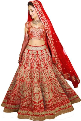 Red embroidered silk unstitched lehenga