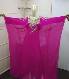 Pink-Rani Zari Work Chiffon Polyester Islamic Party Wear Festive Kaftan Farasha