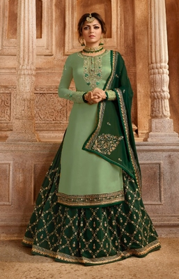 Light-green embroidered satin salwar