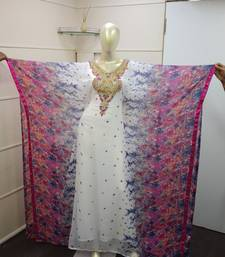 Printed Work Chiffon Polyester Islamic Party Wear Festive Kaftan Farasha