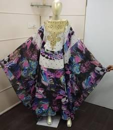 Multicolour  Zari Work Chiffon Polyester Islamic Party Wear Festive Kaftan Farasha