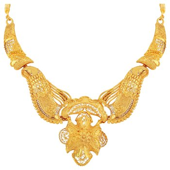 Asmitta Fancy Filigiree Design 1 Gram Gold Plated Choker Style Necklace Set For Women