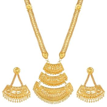 Asmitta Ethnic Designer 1 Gram Gold Plated Necklace Set For Women