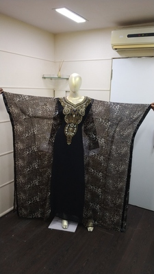 Black & Tiger print Zari Work Chiffon Polyester Islamic Party Wear Festive Farasha Kaftan