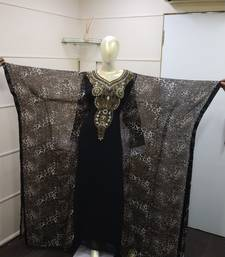 Black & Tiger print Zari Work Chiffon Polyester Islamic Party Wear Festive Farasha Kaftan
