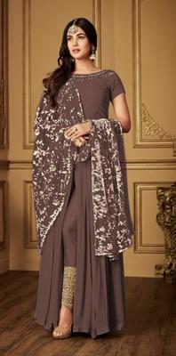 Brown embroidered georgette salwar