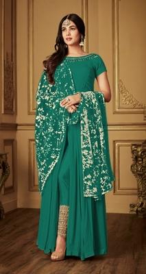Sea-green embroidered georgette salwar