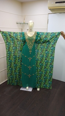 Green Zari Work Chiffon Polyester Islamic Party Wear Festive Kaftan Farasha