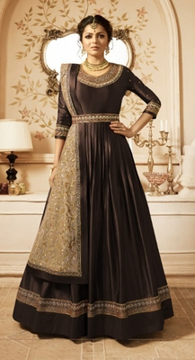 Brown embroidered satin salwar