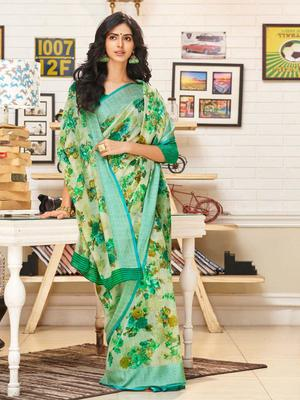 Green woven linen saree with blouse