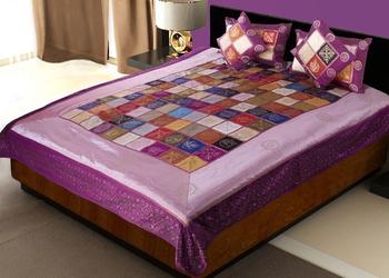 multicolour Silk Sparkling Double Bedding Set(king size)
