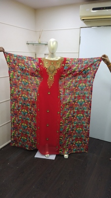 Red Zari Work Chiffon Polyester Islamic Party Wear Festive Kaftan Farasha