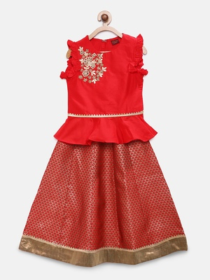 Red embroidered polyester girls-top-bottom