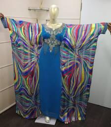 Blue Zari Work Chiffon Polyester Islamic Party Wear Festive Farasha Kaftan