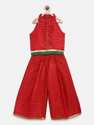 Red printed jaquard girls-top-bottom