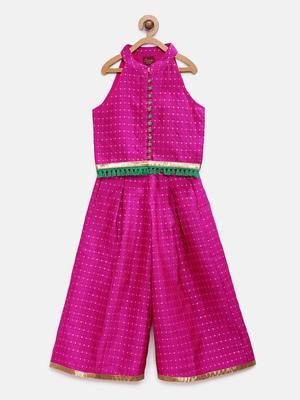 Pink printed jaquard girls-top-bottom