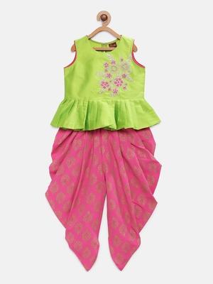 Green embroidered taffeta girls-top-bottom