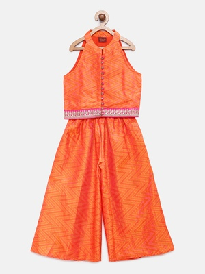 Orange printed jaquard girls-top-bottom