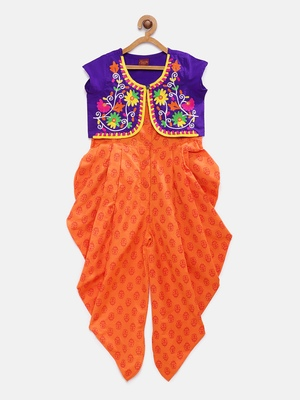 Purple embroidered cotton girls-top-bottom