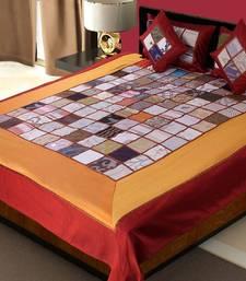 multicolour Silk Checkered Double Bedding Set (king size)