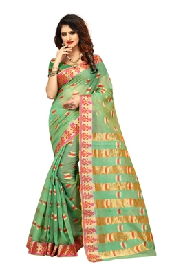 Sea green woven brasso saree with blouse